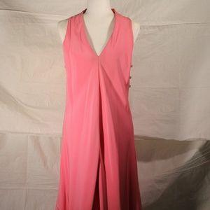 Vintage pink v-neck sleeveless cocktail dress sm